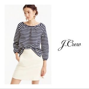 J Crew Structured Keyhole Blue white striped